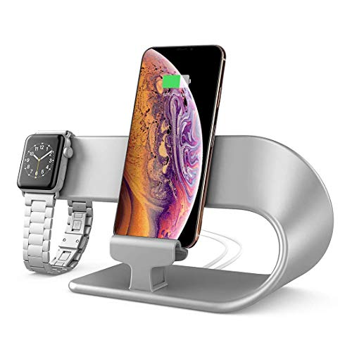 hooroor Handy Ständer Ladestation Stand Ladestander Replacement für Apple Watch Series 5 Series 4 Series 3 Series 2 Series 1,iPhone,iPad Dock Stationn (Silber)