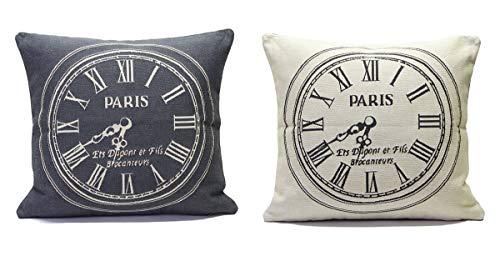 SP S.a.s. Kussensloop voor kussen, motief: Parijs, motief: Opera Palais Royal Rive Gauche Paris Saint Germain, van Jacquard-stof, gemaakt in België, gemaakt in Italië