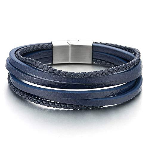 iMECTALII Herren Damen Multi-Strang Navy Blau Lederarmband Armband Geflochtene Echtes Leder Schweißband Edelstahl Magnetverschluss