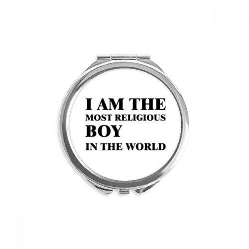 DIYthinker je suis le miroir religieux boy round maquillage de poche à la main portable 2,6 pouces x 2,4 pouces x 0,3 pouce Multicolore