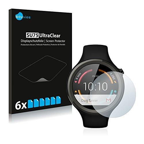 Savvies 6X Schutzfolie kompatibel mit Motorola Moto 360 Sport 45 mm (1. Generation) Bildschirmschutz-Folie Ultra-transparent