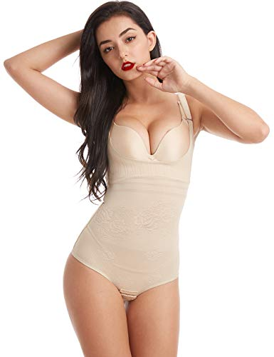Wirezoll Damen Shapewear, Figurformender Body Bauch Weg Bodysuit mit Haken, Upgraded Version Beige, M