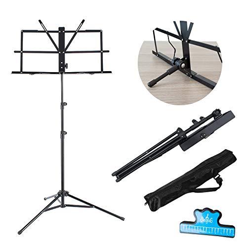EastRock Notenständer Tischnotenständer und klappbar Notenhalter Zwei Verwendungszwecke (Dual-Use) Metall Notenpult mit Tasche und Musikclip (Schwarz)