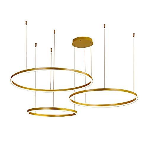 Light Up Life/Boutique Lighting kroonluchter, ring, hanger, lamp, goudkleurig, woonkamer, eetkamer, hanglamp, kantoor, studio, eenvoudige decoratie, kroonluchter, afstandsbediening, dimbaar