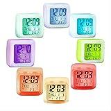 LUCYYY Reloj Despertador 7 Colores Cambio Brillante Reloj Digital Led Reloj de Mesa