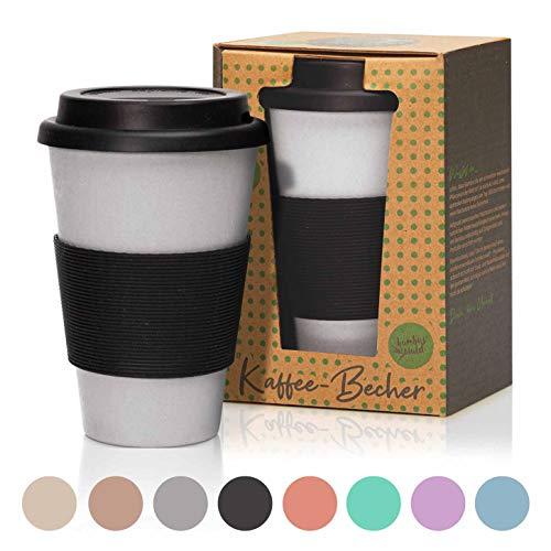 bambuswald© 450ml ökologischer Kaffeebecher to Go mit Silikondeckel | wiederverwendbarer & umweltfreundlicher Coffee-to-Go Becher für Tee & Kaffee aus Bambus - nachhaltiger Mehrwegbecher