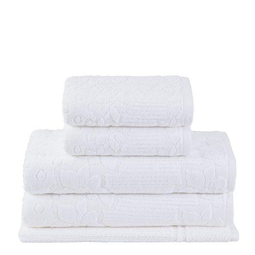 Buddemeyer-Jogo de Toalhas LOLLIPOP CEMB.PE,100% Algodão, Branco, 2 toalhas banho 90x150 cm, 2 toalhas rosto 48x80 cm, 1 piso 48x70 cm