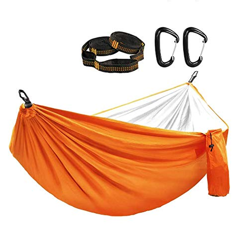 GOGOTIT Hammocks for Trees,Nylon Raincoat Hammock Tent,Lightweight Travel Camping Hammock for Kids Adults with 2 Straps-Double Layer with Silver Coated for Sunshade,Rainfly-MAX Support 300lbs