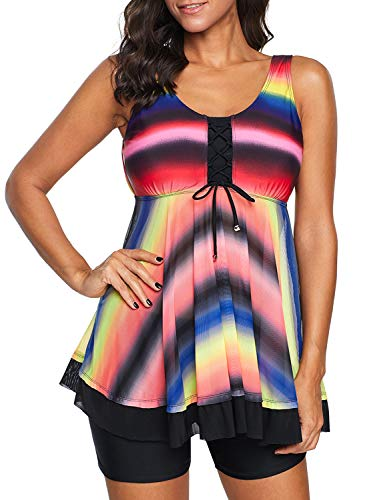 Dokotoo Womans Plus Size Two Piece Swimdress Tankini Set Sporty Swimwear Tie Dye Ombre Bathing Suit Maternity Swimsuit Dresss with Bottom Multicoloured XX-Large