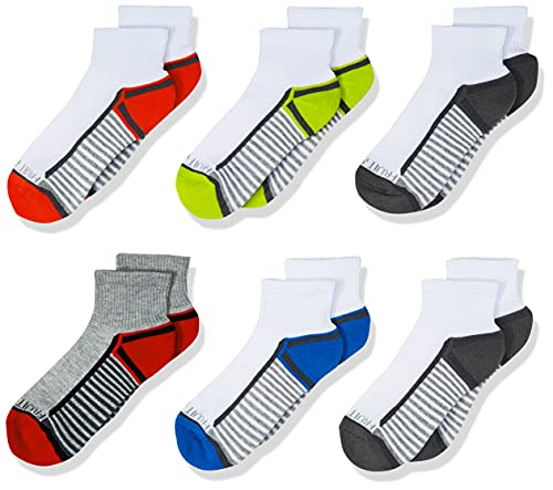 Fruit of the Loom Boys' 6-Pair Half Cushion Ankle Socks, white assort, Large (Shoe Size: 3-9)