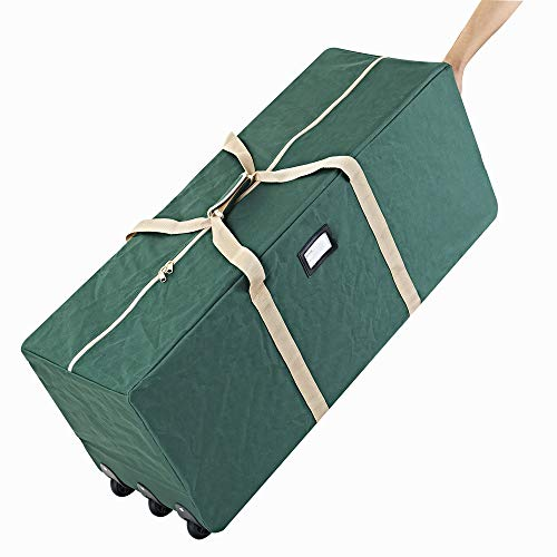 ProPik Xmas Rolling Tree Storage Bag, Fits Up to 9 ft. Tall Disassembled Holiday Tree, 25' X 20' X 60', Extra Large Heavy Duty Storage Container with Wheels, Front and Side Handles for Your Comfort