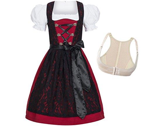 Gaudi-Leathers 4-delige traditionele damesdirndl-set lelie rood met zwart kant: jurk, blouse, schort en push-up beha Shaper voor Oktoberfest, carnaval of themafeesten, merk