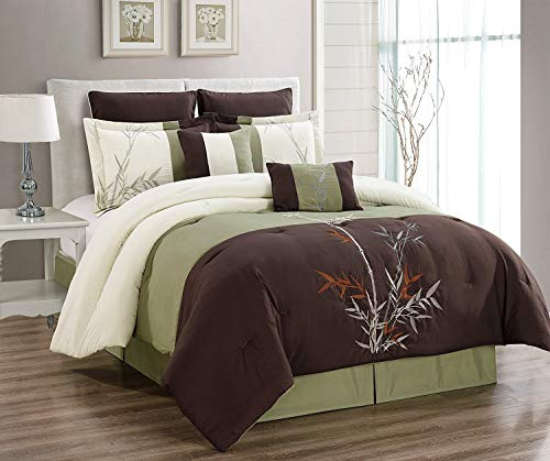 6 Piece Oversize Brown/Beige/Sage Green Tropical BAMBOO TREE Embroidered Luxury Comforter set Twin Size Bedding