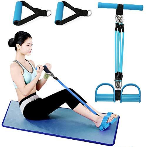 Wuudi Upgrade 4 Tubes Multifunktions-Leg-Exerciser- Elastische Zugseil Trainingsgeräte- Sit-up Bodybuilding Expander - Pedal Resistance Band-Blau