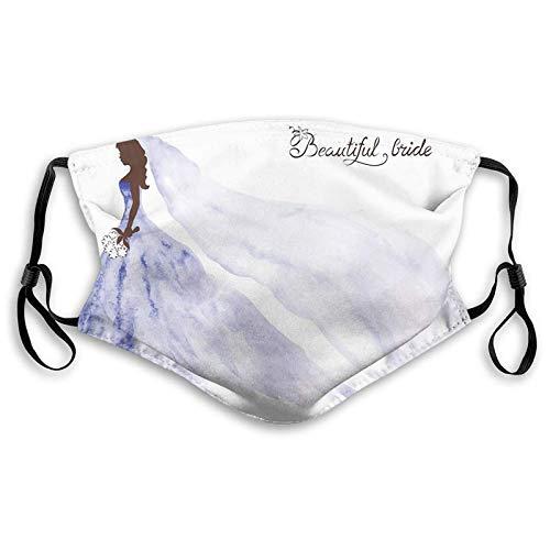 Winddichte Aktivkohle-Maske, abstraktes schönes Brautkleid mit Blumen, Gesichtsschmuck für Jugendliche und Kinder (S)