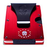 Savage Spartan Tactical Wallet   Slim Minimalist RFID Blocking Aluminum Metal Credit Card Holder With Money Clip for Men (Red)