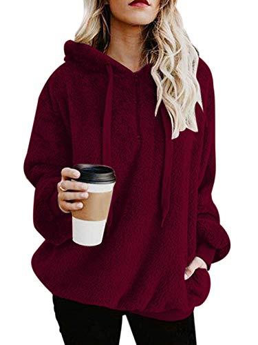 Century Star Womens Fuzzy Hoodies Pullover Cozy Oversized Pockets Hooded Sweatshirt Athletic Fleece Hoodies Wine Red Medium