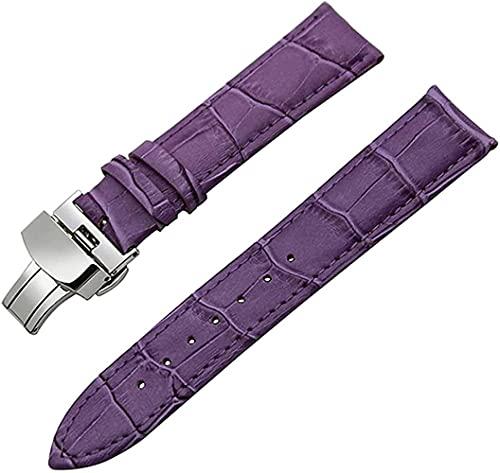 JZDH Banda de Reloj de Cuero Cinturón de Acero Correa de muñeca 18 mm 19 mm 20 mm 21 mm 22 mm 23mm 24mm Reloj Bandas (Color: Mariposa púrpura, Tamaño: 21 mm)