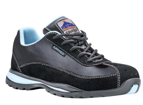 Portwest Steelite FW39BKR38, dames sneaker met stalen neus, zwart/lichtblauwe strepen (Black/Light Blue Stripe), 38 EU / 5 UK