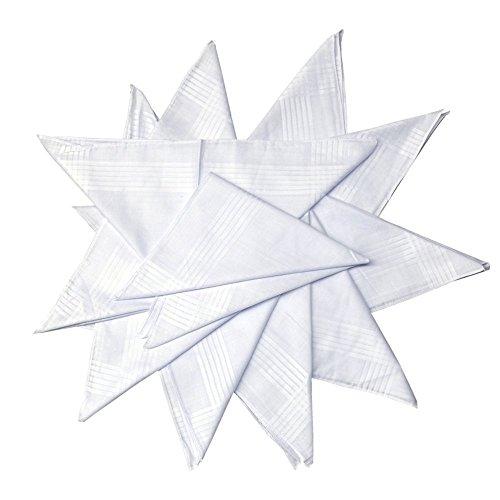 Dudu N Girlie satijnen rand dames katoenen zakdoek, 28 cm x 28 cm, 12-delig, wit