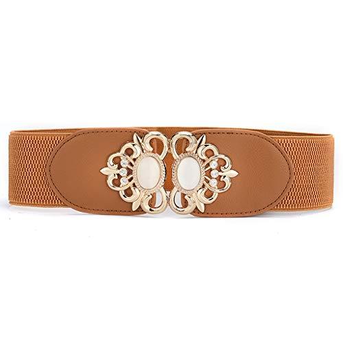XIAOTING Cinturón de la Mujer, Cintura elástica con Incrustaciones de Diamantes de imitación de Ojo de Gato con Piedras Preciosas, Vestido de Adorno de Cintura Ancha con Sello en la Cintura