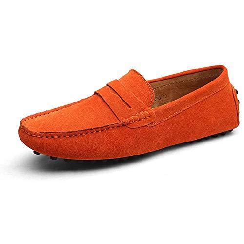 YXDOO Herren Klassische Slipper Mokassin Schuhe Slip On Loafer Britische Art-Geschäfts-beiläufige treibende Schuh-gehende Schuh-Beleg-Müßiggänger Orange