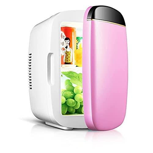 Mini refrigerador 6 litros Refrigeradores portátiles 2 en 1 Función de refrigeración y calefacción Fridge, pequeño congelador para cosméticos, dormitorio, oficina, automóvil, viajes, AC / DC M