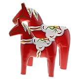 Homyl 1 Paar Schweden Pferd Dalapferd Holzpferd Figuren Dekofigur Statue Ornament - Rot