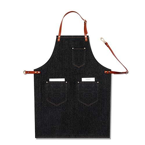 Xzbnwuviei Delantal de mezclilla halter para hombre profesional para barbacoa de cocina, resistente al agua con bolsillos para herramientas, trabillas para toallas y hebilla de cierre rápido