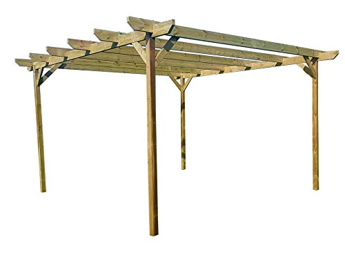 Chamfered Wooden Garden Pergola Kit - Exclusive Pergola Range - Largest on Amazon (3m x 4.8m 4 posts, Light Green (Natural))