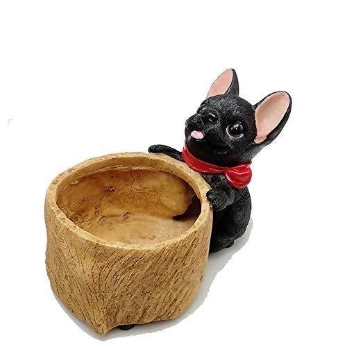 YOURNELO Nordic Cute Puppy Dog Resin Plant Flower Pot Succulent Planters Vase (French Bulldog Black)
