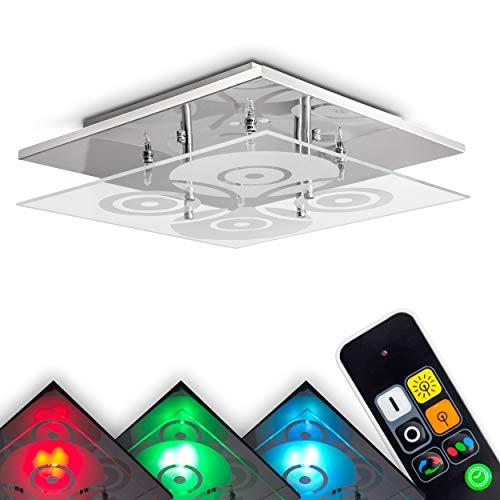 LED Deckenleuchte Everlight, dimmbare Deckenlampe aus Metall/Glas in Chrom, 4-flammig, eckige Leuchte mit RGB Farbwechsler u. Fernbedienung