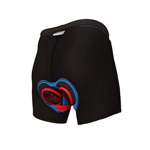 Chanhan Ciclismo Gel Undershorts para hombre y mujer, 5D acolchado para bicicleta, transpirable y absorbente antideslizante elástico de secado rápido, pantalones cortos de ciclismo ropa interior