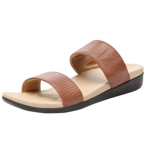 MEGNYA Orthotic Slide Sandals for Women, Sandals for Plantar Fasciitis Flat Feet, Comfortable Walking Slide Sandals with Arch Support 20ZGOR03-1-W4-8