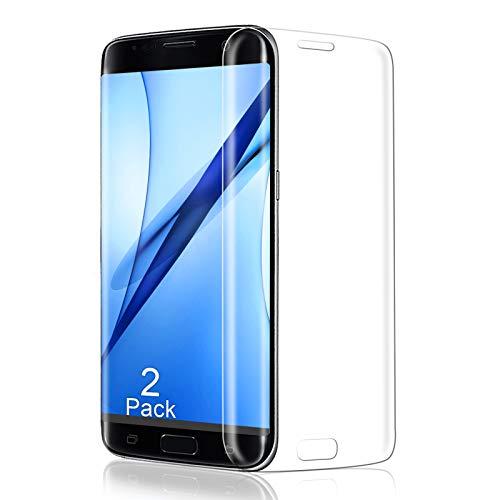 Panzerglas für Samsung Galaxy S7 Edge Schutzfolie, 3D Vollständigen Abdeckung, 9H Festigkeit Glas Folie, HD Bildschirmschutzfolie, [2 Stück] Anti-Kratzer/Anti-Öl, Leichte Montage, Blasenfrei - Transparent