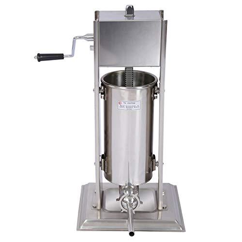 WilTec Poussoir à Saucisse Machine de Remplissage Capacité Acier Inoxydable de 5l pour...