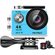 AKASO 4K Wi-Fi Sports Action Camera Ultra HD Waterproof DV Camcorder 12MP 170 Degree Wide Angle LCD Screen/Remote, Royal Blue (EK7000BL)