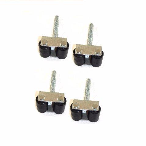 Durable Rigid Twin Wheel Appliance Casters w/1/2'-13x3-1/2' Threaded Stem