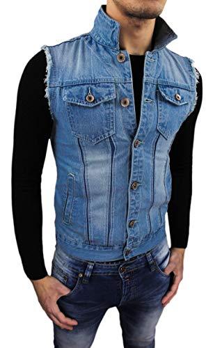 Evoga Giubbotto Smanicato di Jeans Uomo Blu Denim Cardigan Gilet Casual Slim Fit (XL)