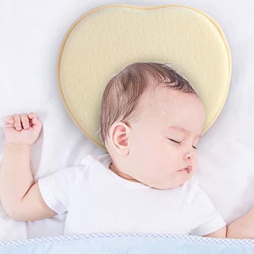DaMohony Baby Kussen voor pasgeborenen, Baby Hoofd Vormende Kussen Zacht Geheugen Schuim Kussen met Nek Ondersteuning voor 0-12 Maanden