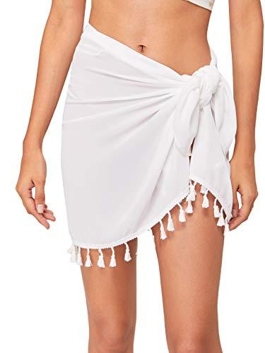 Verdusa Women's Tassel Hem Asymmetrical Swimwear Wrap Cover Up Skirt White XL