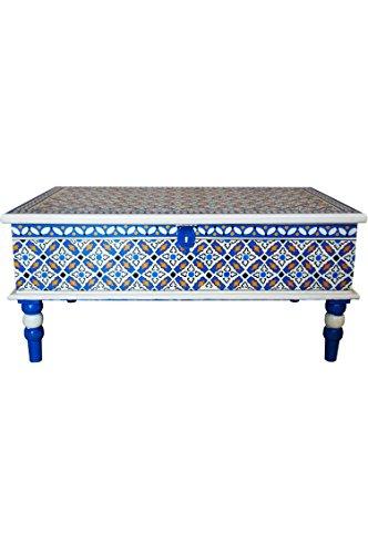 Marokkanischer Tisch Couchtisch Dimana 100cm Bunt | Orientalischer Holz Sofatisch orientalisch handbemalt | Indischer Wohnzimmertisch Truhentisch mit Stauraum | Asiatische Möbel aus Indien - 2
