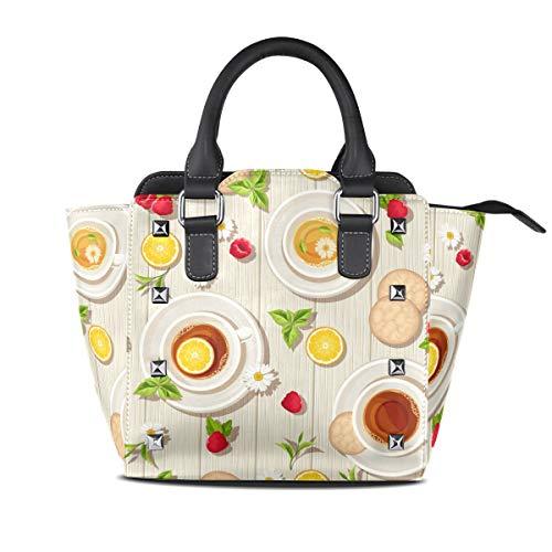 Handtaschen für Frauen Mädchen Damen Student Lake Leder Tee Zeit Nahtlose Muster Tassen Kekse Zitrone Einkaufstasche Geldbörse Einkaufen Umhängetaschen Leichte Gurt