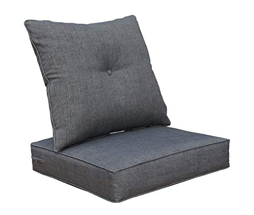 BOSSIMA Cushions for Patio Furniture, Outdoor Water Repellent Fabric, Deep Seat Pillow and High Back Design, Slate Grey