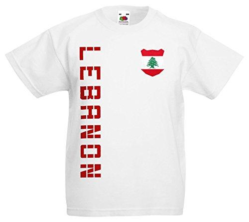 Libanon Lebanon Kinder EM 2016 T-Shirt Trikot Name Nummer (Weiß, 164)