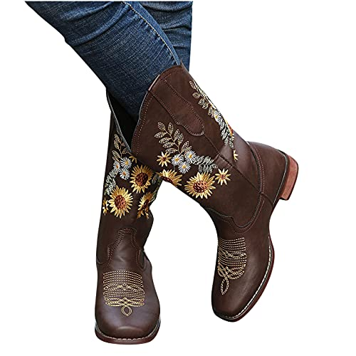 Women's Western Cowboy Boots Vintage Sunflower Embroidery Chunky Mid-Heels Wide Mid Calf Boots Winter Slip on Shoes Coffee