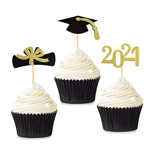 Unimall Global 36 toppers de graduación 2021 para cupcakes, con purpurina, clase de 2021, para graduación