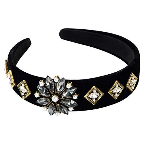 niumanery Baroque Vintage Wide Headband Shimmer Rhinestone Flower Velvet Hair Hoop Crown Black