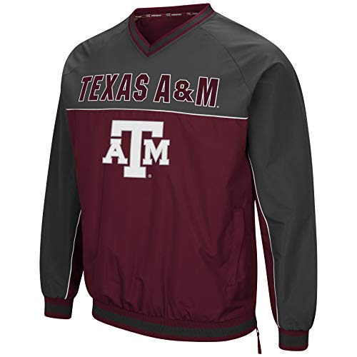 Colosseum Men's NCAA Athletic V-Neck Windbreaker Pullover With Tackle Twill Embroidery-Texas A&M Aggies-Maroon/Charcoal-XL