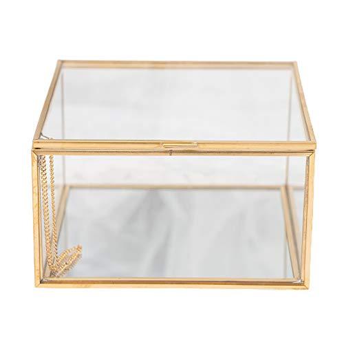 LOVIVER Cuadrado Dorado Vintage Latón Y Cristal Transparente Caja Decorativa Decoració